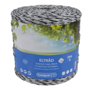ELTRÅD PRO+ 3 MM HVIT/SVART 500 M 9X0,25